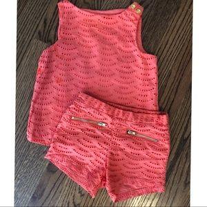 Girls coral matching set size 3T